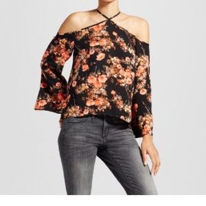 Tops - Y-Neck Floral Printed Blouse